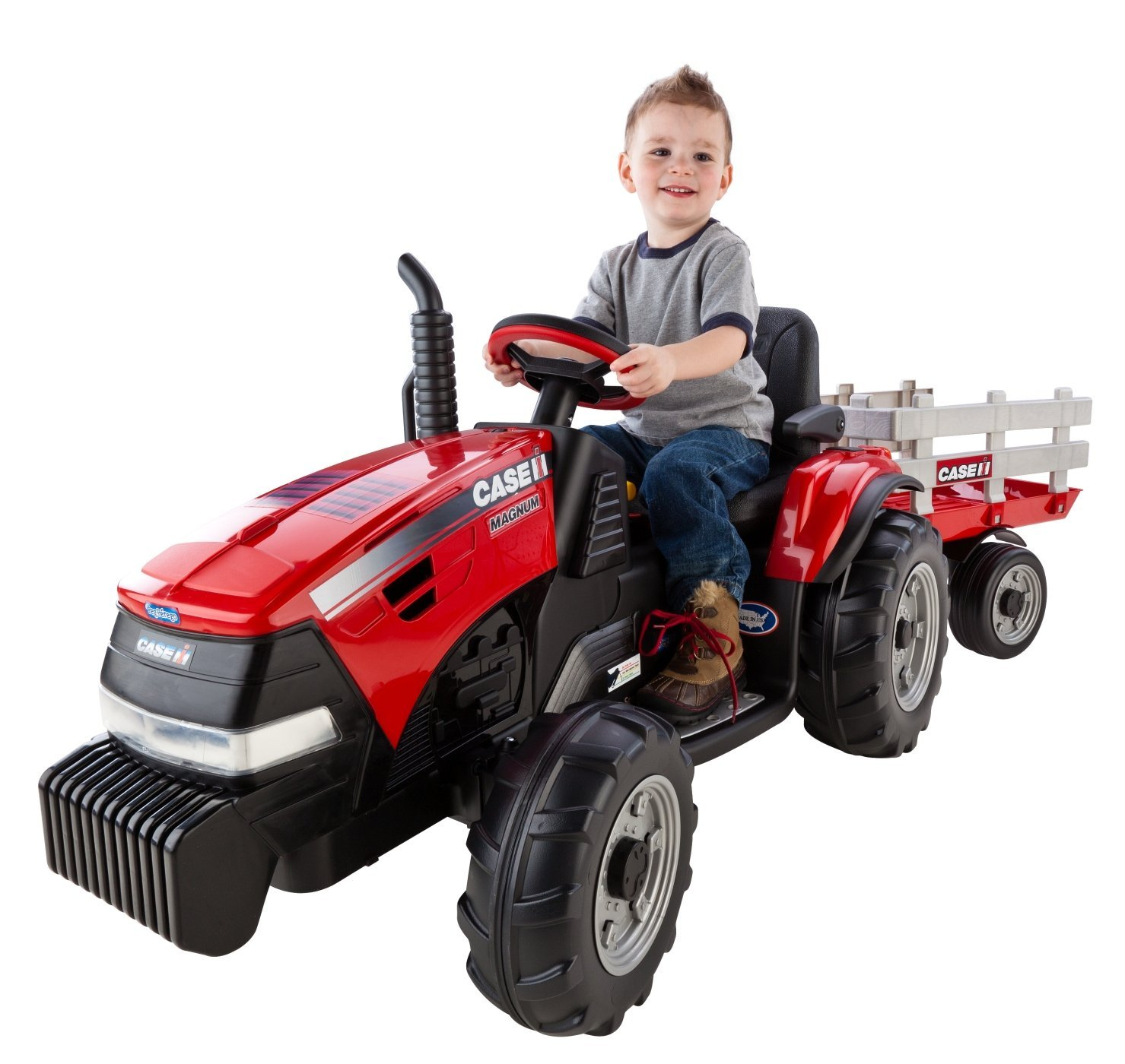 Peg Perego Case IH Magnum Tractor with Trailer Ride-On Toy