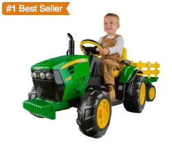 Peg Perego John Deere Ground Force Tractor and Trailer Ride-On Battery Powered Toy